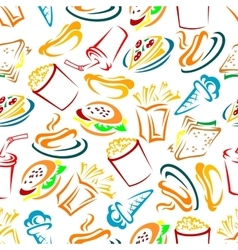 Fast food and drinks seamles pattern vector image vector image