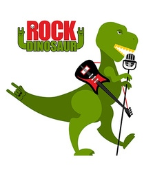 Rock dinosaur tyrannosaurus is singing into vector