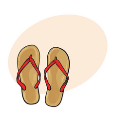 pair of flip flops summer time vacation attribute vector image vector image