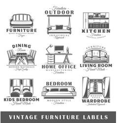 set of vintage furniture labels vector image vector image