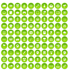 100 creative marketing icons set green circle vector