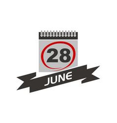 28 june calendar with ribbon vector image