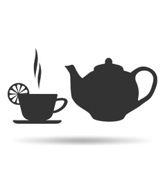 A cup of hot tea with lemon and teapot vector