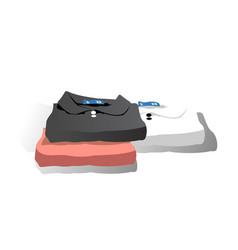 A stack of neatly folded clean clothes vector