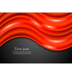 Abstract shiny red waves vector image