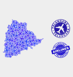 airlines composition telangana state map vector image
