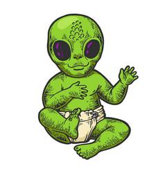 Alien baby in diaper color sketch engraving vector