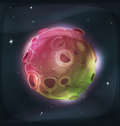 Alien moon planet on space background vector