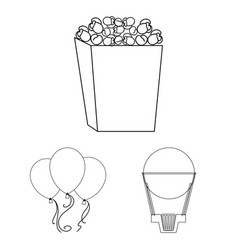 amusement park outline icons in set collection for vector image