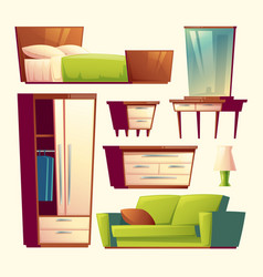 bedroom living room interior cartoon object vector image