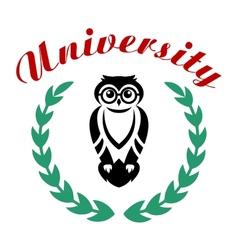 Black owl in wreath as university symbol vector image