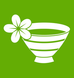 bowl with water for spa icon green vector image