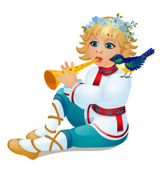 boy in a traditional russian costume playing the vector image