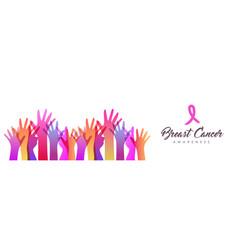 Breast cancer awareness diverse women hand card vector