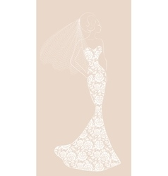 bride with veil vector image