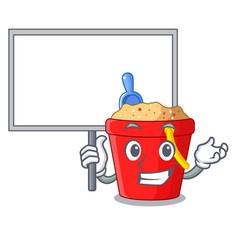 Bring board beach bucket shape with sand cartoon vector