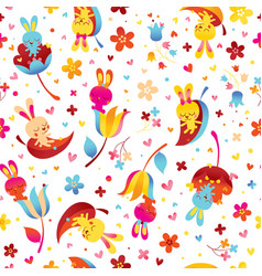Bunnies and flowers seamless pattern vector