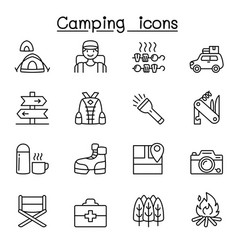 camping hiking icons set in thin line style vector image