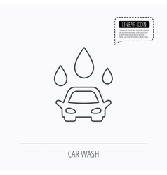 Car wash icon cleaning station with water drops vector
