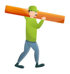 Carpenter take wood plank icon cartoon style vector