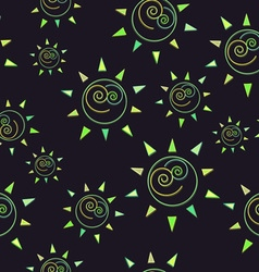 Cartoon sun seamless pattern circle symbol vector image