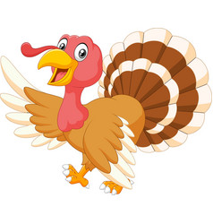 Cartoon turkey waving isolated on white background vector