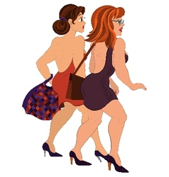 Cartoon two girls walking with bags back view vector