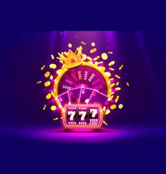 casino golden colorful fortune wheel neon slot vector image