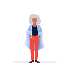 casual mature woman standing pose smiling senior vector image
