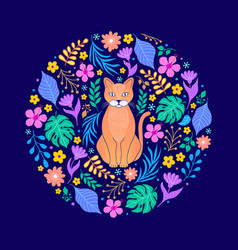 cat and flowers on dark background vector image
