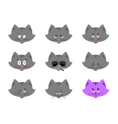 cat set emoji avatar sad and angry face guilty vector image