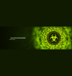 caution biohazard epidemic banner toxic vector image