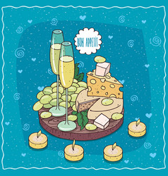 Champagne or cider and grapes and cheese vector
