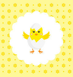 Chick in eggshell flat vector