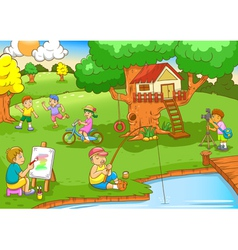 children playing under tree house vector image