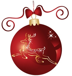 Christmas ball and gold reindeer vector image