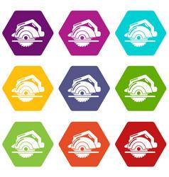 circular saw icons set 9 vector image