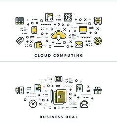 Cloud Computing and Business Deal Flat Thin Line vector image