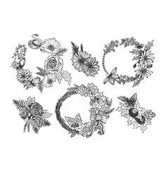 Collection of beautiful flower accessories vector