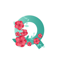 color letter q with beautiful flowers vector image