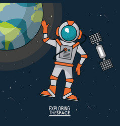 colorful poster exploring the space with astronaut vector image