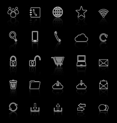 Communication line icons with reflect on black vector
