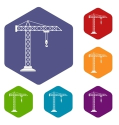 Construction crane icons set vector