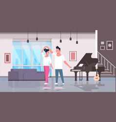 couple dancing man woman happy lovers home hall vector image