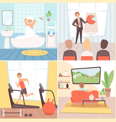 Daily routine background busy businessman vector