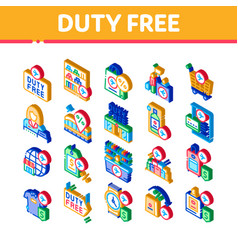 Duty free shop store isometric icons set vector