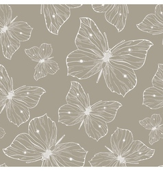 Elegant seamless pattern with hand drawn butterfli vector image