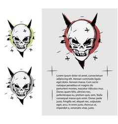 Evil skull in different colors a terrible page of vector