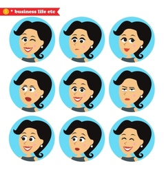 Facial emotions icons set vector