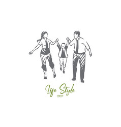 family walking concept sketch isolated vector image